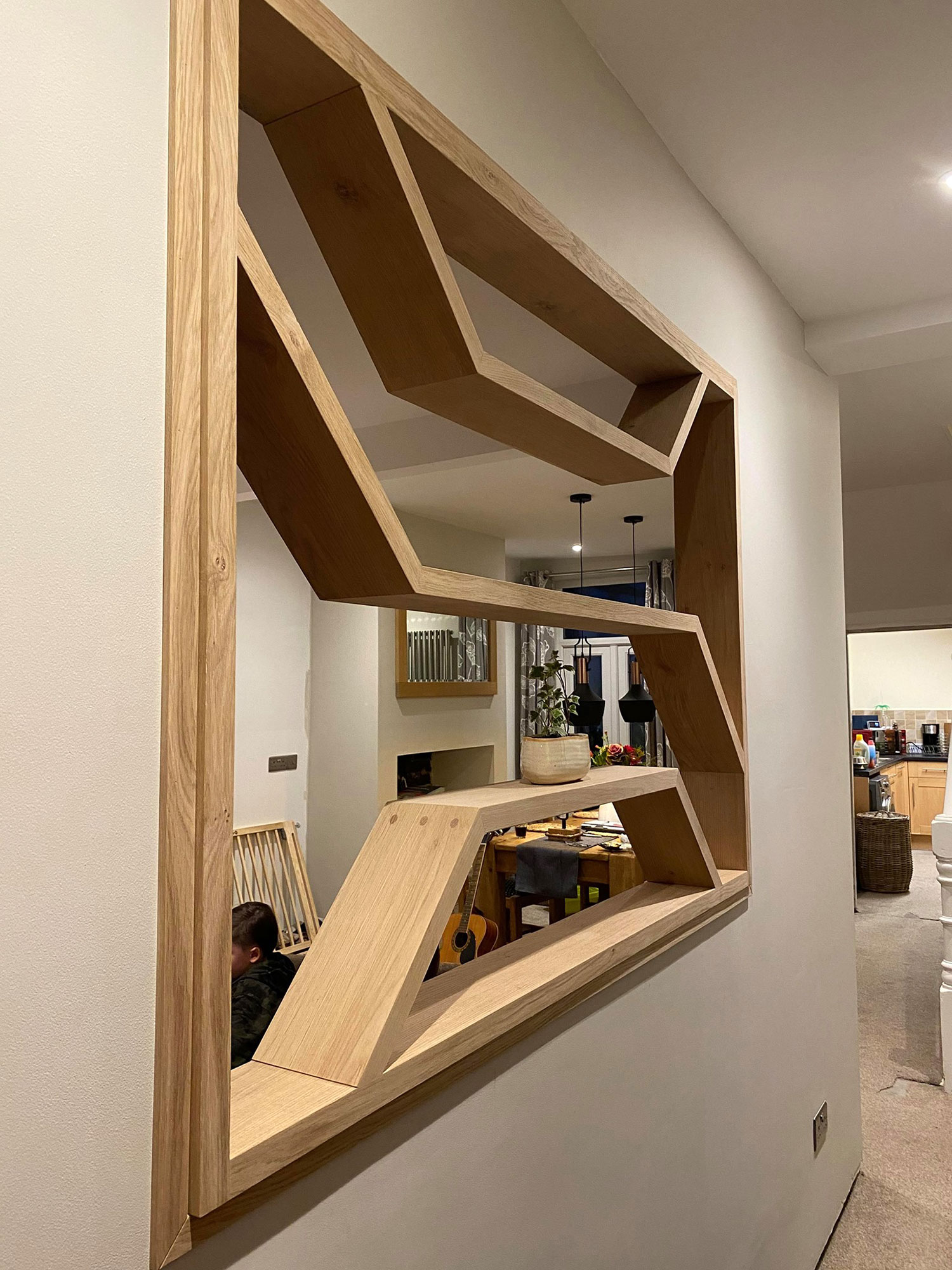 Double sided oak shelves
