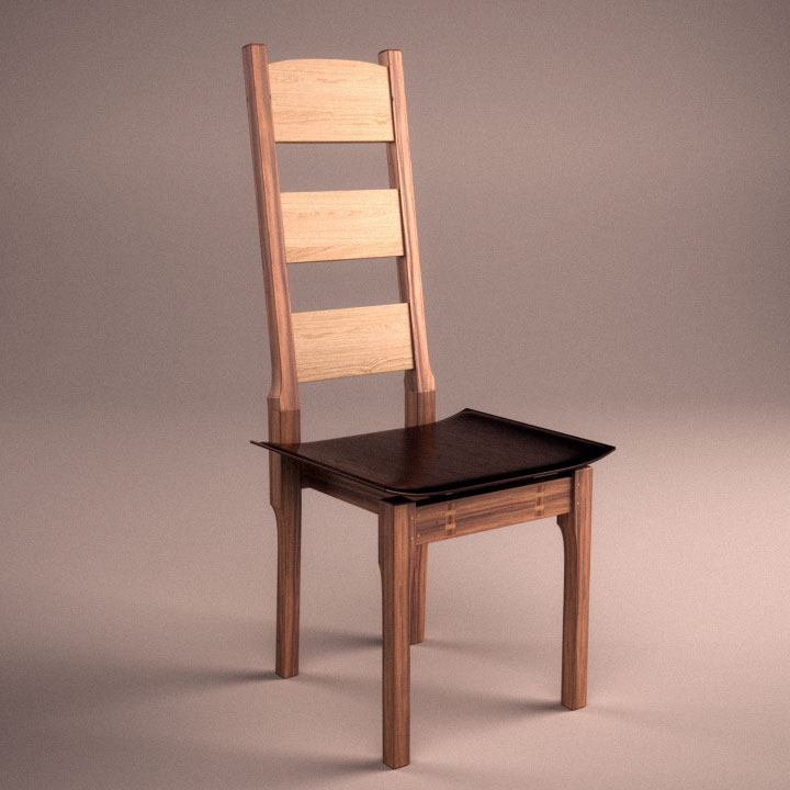 Dining chair in Elm with floating stitched leather seat.