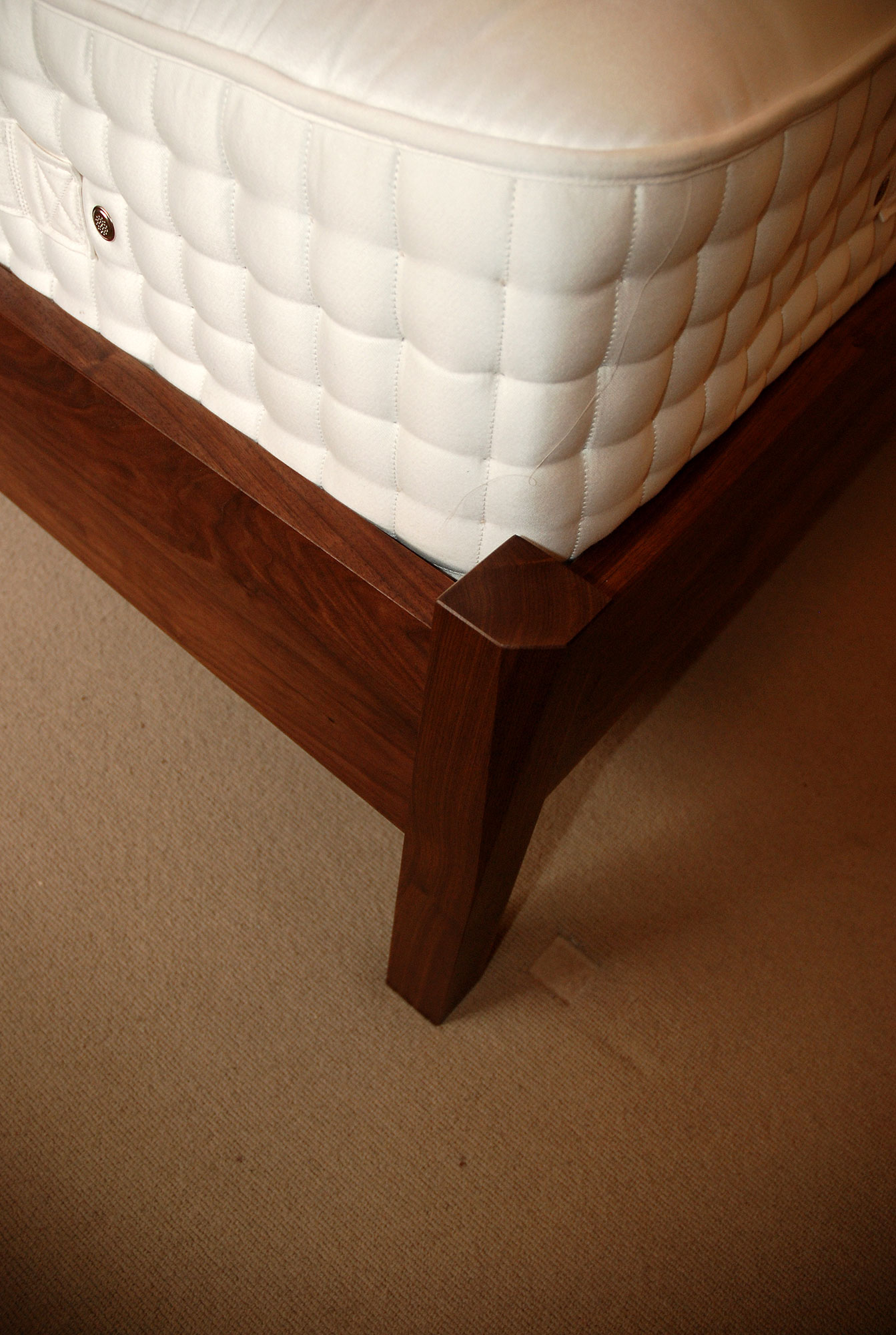 Walnut bed and side tables
